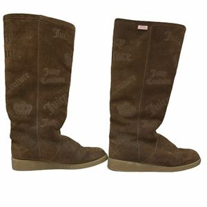 Juicy Couture Brown Suede Logo Tall Boots